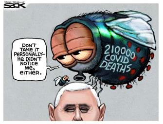 Political Cartoon U.S. Pence debate fly covid deaths