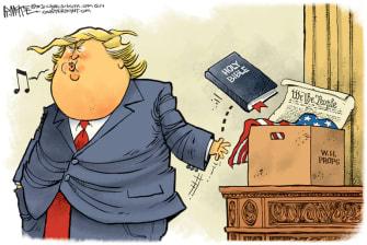 Political Cartoon U.S. Trump Bible photo op prop