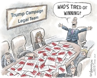 Political Cartoon U.S. Trump election lawsuits