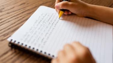 A child does their homework.