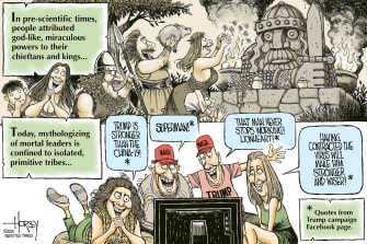 Political Cartoon U.S. Trump COVID MAGA