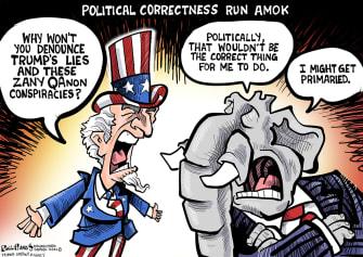 Political Cartoon U.S. gop qanon primary