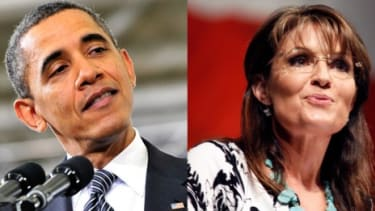 """""""I'm more than happy to accept the dubious honor of being Barack Obama's 'enemy of the week,"""" Sarah Palin wrote on Facebook, """"if that includes the opportunity to debate him."""""""