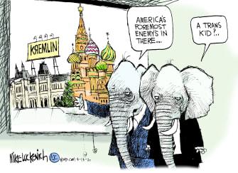 Political Cartoon U.S. gop trans rights russia