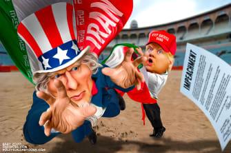 Political Cartoon U.S. Trump Matador War With Iran Impeachment