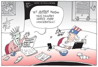 Editorial Cartoon U.S. covid baby bust immigration