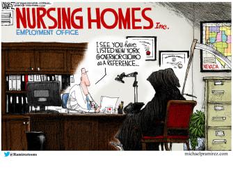 Political Cartoon U.S. Andrew Cuomo nursing home deaths