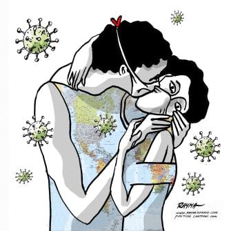 Editorial Cartoon World The Kiss Gustav Klimt coronavirus spread