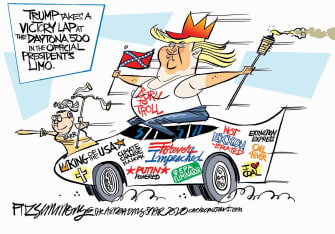 Political Cartoon U.S. Trump NASCAR victory lap Barr