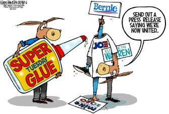 Political Cartoon U.S.Super Tuesday super glue democratic party united