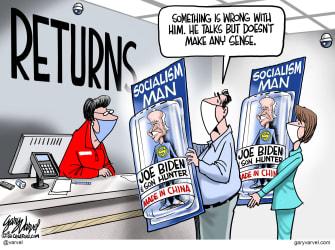 Political Cartoon U.S. Joe Biden Hunter Socialism Made in China Holiday Returns