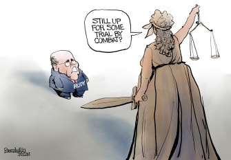 Political Cartoon U.S. giuliani fbi raid trial by combat