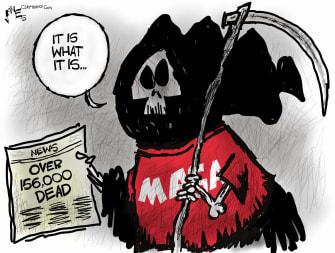 Political Cartoon U.S. MAGA Trump coronavirus Axios interview