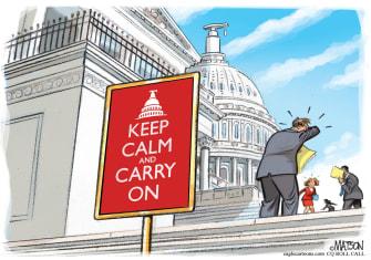 Political Cartoon U.S. Coronavirus Capitol Hill D.C. keep calm carry on symptoms health precautions