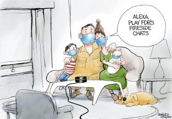 Editorial Cartoon U.S. Coronavirus FDR Alexa quarantine news face masks modern communication