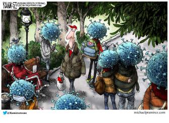 Editorial Cartoon U.S. people gathering in parks spreads coronavirus not safe