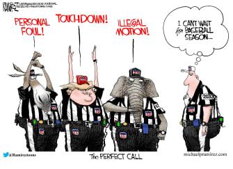 Political Cartoon U.S. GOP Democrats Trump referees impeachment trial