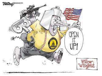 Political Cartoon U.S. Governor Kemp reopens Georgia unaware virus kills