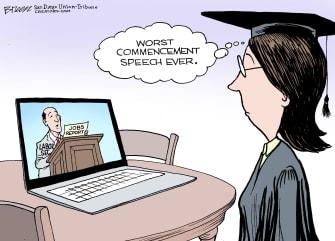 Editorial Cartoon U.S. commencement graduation ceremony jobs
