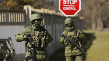 A Ukrainian soldier is the first casualty in the war for Crimea