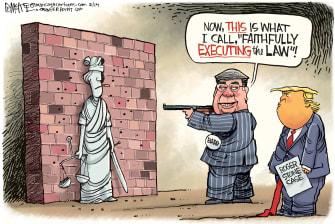 Political Cartoon U.S. Trump William Barr Roger Stone lady justice execution