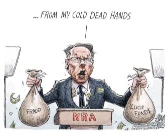 Editorial Cartoon U.S. Wayne LaPierre NRA lawsuit