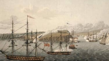 A depiction of the attack on Fort Oswego, Lake Ontario, 1814