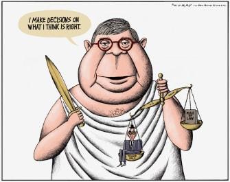 Political Cartoon U.S. Barr unbalanced justice toward Trump