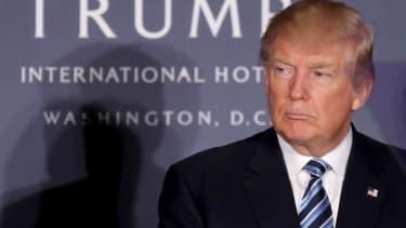 Donald Trump at the ribbon-cutting of the Trump International Hotel in Washington, D.C.
