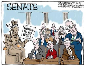 Political Cartoon U.S. Trump impeachment senate McConnell witnesses