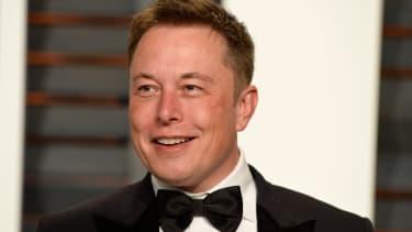 Tesla CEO Elon Musk at an Oscars party