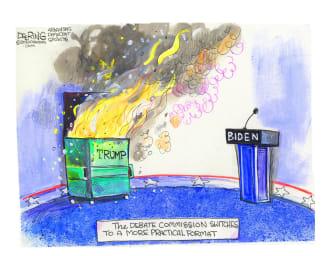 Political Cartoon U.S. Trump debate dumpster fire