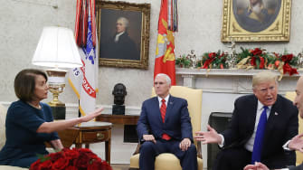 Trump in the oval office with Democratic leaders