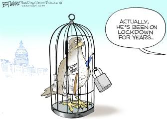 Editorial Cartoon U.S. deficit hawks coronavirus relief lockdown