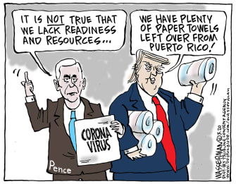 Political Cartoon U.S. coronavirus Pence Trump Puerto Rico resources