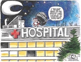 Editorial Cartoon U.S. COVID vaccines Christmas
