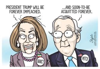 Political Cartoon U.S. Trump impeachment Pelosi McConnell