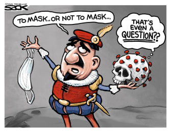 Editorial Cartoon U.S. shakespeare hamlet coronavirus mask