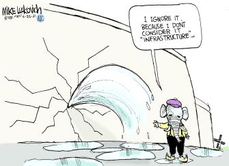 Political Cartoon U.S. GOP infrastructure