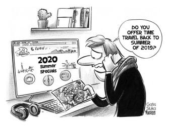 Editorial Cartoon World coronavirus time travel