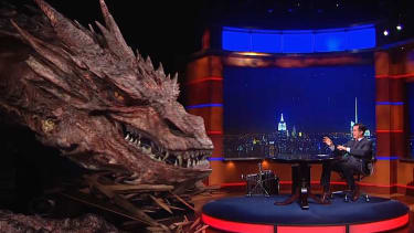 Colbert interviews 'fiscal conservative' Smaug, who blames 'liberal Hollywood bias' for bad-guy casting