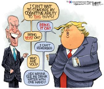 Political Cartoon U.S. Trump Biden cognitive decline 2020