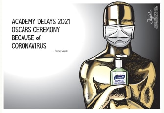 Editorial Cartoon U.S. Academy Awards oscars coronavirus postponed