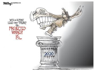 Political Cartoon U.S. democrat overconfidence 2020