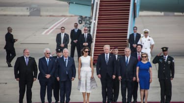 President Trump and the gang departing Israel.