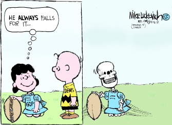 Political Cartoon U.S. gop bipartisanship democrats peanuts lucy charlie brown