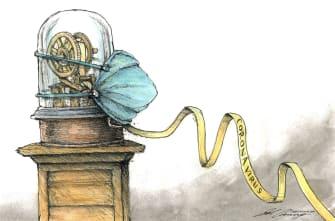 Political Cartoon U.S. Trump Coronavirus NYSE pandemic investments economy