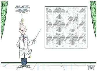 Editorial Cartoon U.S. covid vaccine distribution