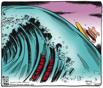 Political Cartoon U.S. climate change wave human resources