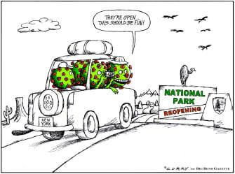 Editorial Cartoon U.S. coronavirus national parks